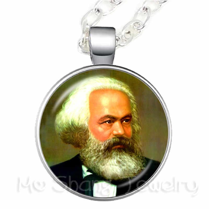 Karl Marx philosophe 25 MM collier socialisme marxisme verre Cabochon chandail chaîne cadeau créatif pour Souvenir