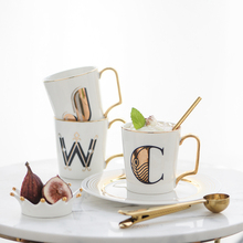 Fashion Breakfast Cup Creative Nordic Style English Alphabet Ceramic Mug Gold Edge Coffee Milk