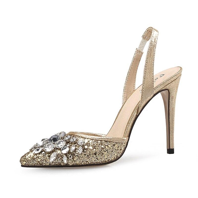 2019 new arrival women shining glitter thin high heel dressing shoes female diamond pointed toe single