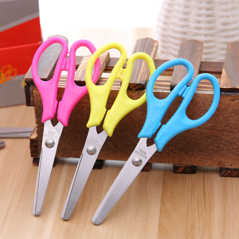 New Mini Safety Round Head Safety Scissors Student Kids Paper Cutting School Hand Cut Supplies For Children