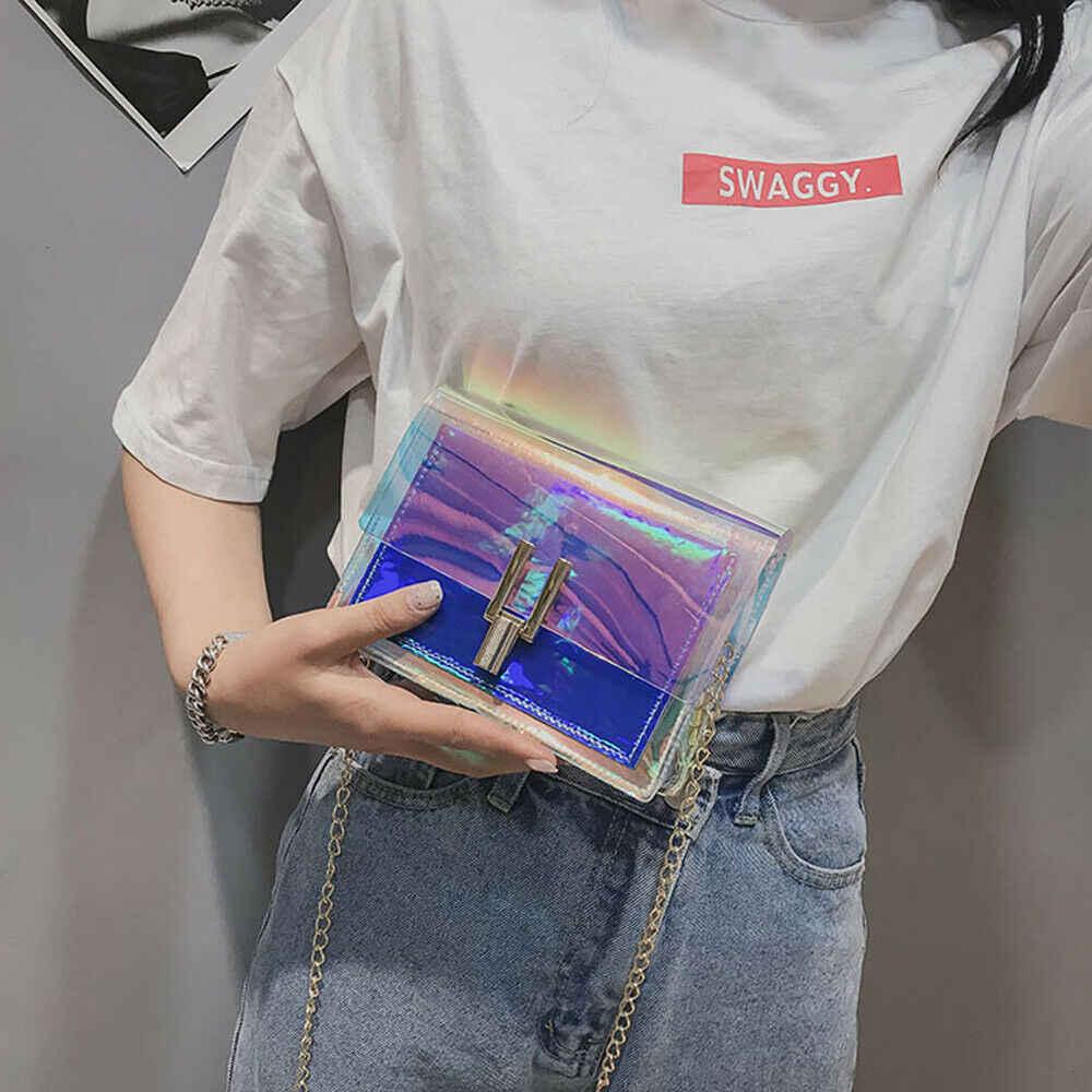 女性のためのクロスボディバッグ 2019 レーザー透明の袋のファッション女性韓国スタイルショルダーバッグメッセンジャー PVC 防水ビーチバッグ