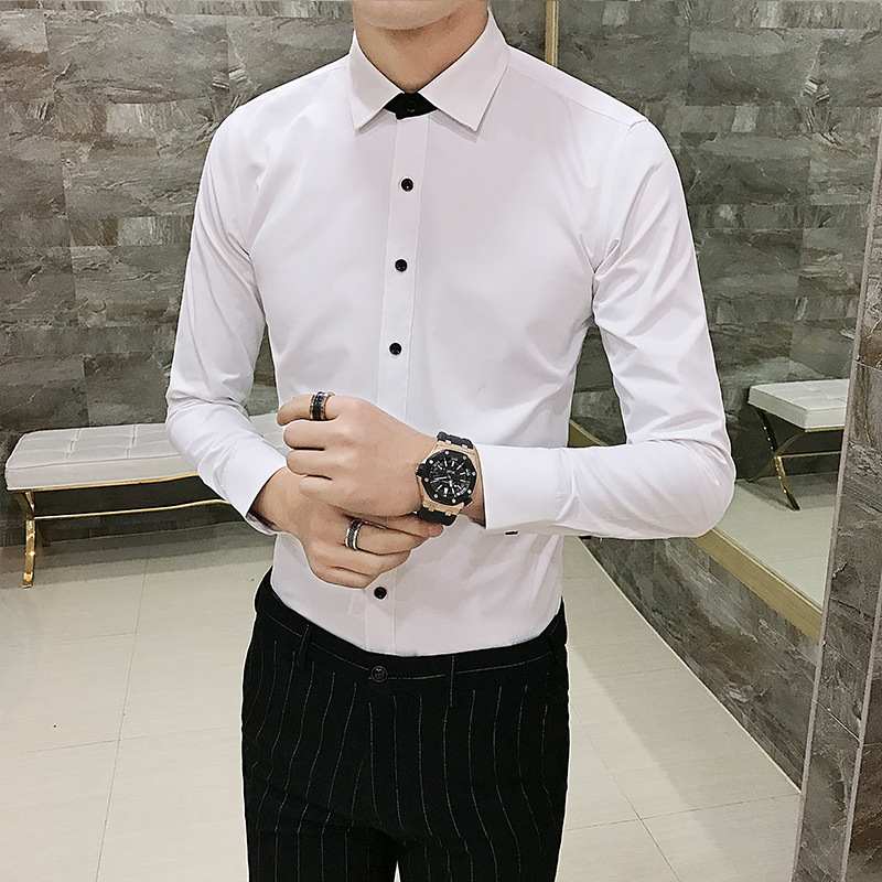 New fashion Slim men's solid color black buckle white shirt youth professional wear free hot casual long sleeved shirt