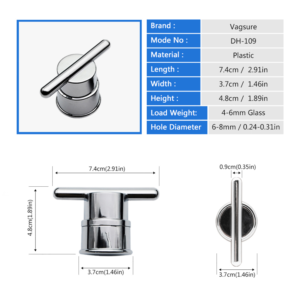 2Pcs/Lot Electroplated Plastic Single Hole Shower Room Accessories Door Knob Handles For Interior Furniture Shower Cabin