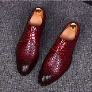 Image 1 - Zapatos formales para hombre talla 38 ~ 48, zapatos de cuero elegantes para hombre, zapatos de boda # AF3702