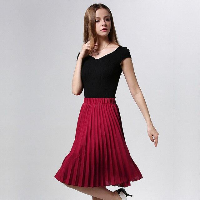 ANASUNMOON Women Chiffon Pleated Skirt Vintage High Waist Tutu Skirts Womens Saia Midi Rokken 2016 Summer Style Jupe Femme Skirt 2