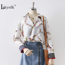 New Brand Chain Print Shirt Women Fashion Sexy V-Neck Long Sleeve Butterfly White Shirt Female Casual Loose Offcie Ladies Blouse(China)