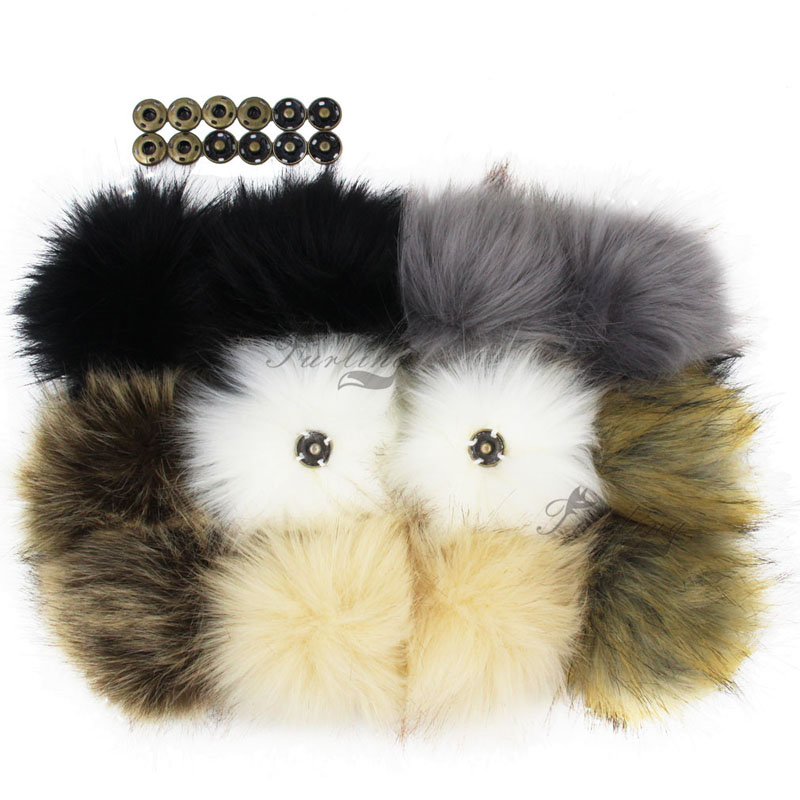 Furling 12pcs DIY Fluffy Faux Fur 11cm Pom Pom Ball with Press Button for Baby Girl Pom Beanie Hat Decoration Accessories pom pom drop earrings