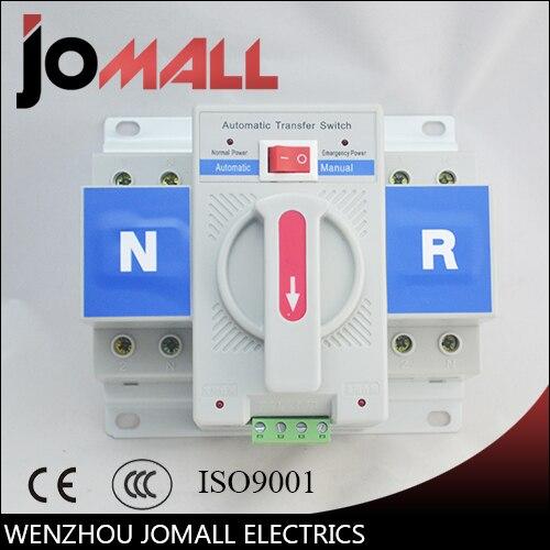 2 P 63A 230 V MCB type blanc couleur Double Pouvoir commutateur de transfert Automatique ATS tension Nominale 220 V/380 V fréquence Nominale 50/60Hz