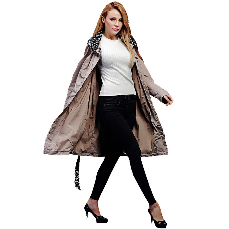 DHfinery long   trench   coat for women Europe Russia Brand windbreaker double layer with hood casaco feminino plus size 48-62 v515