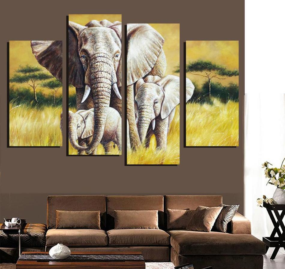 4 Ppcs Elephant Painting Canvas Wall Art Picture Home