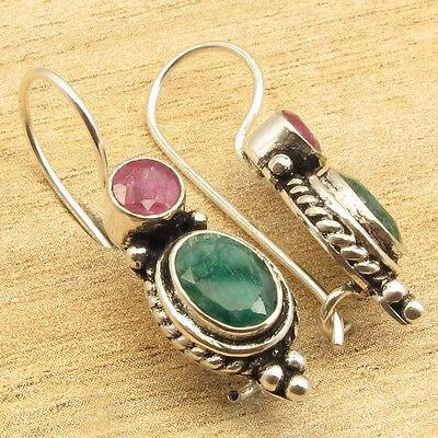 Silver Overlay Collectible Red rubi & Green Emeralds Earrings 1 1/8 rubi rubi ru008awgxq29