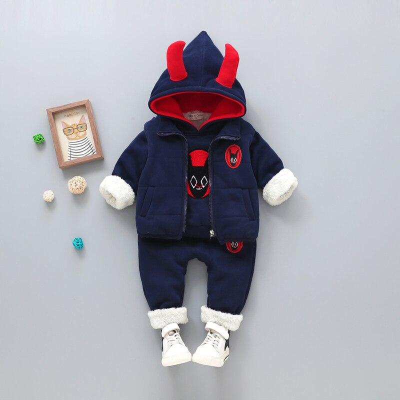 Korean Style Kids Boys Winter Clothing Set Thick Warm Clothes With Velvet Children's Hooded Coat+Vest+Pants 3Pcs Boys Suit JF283