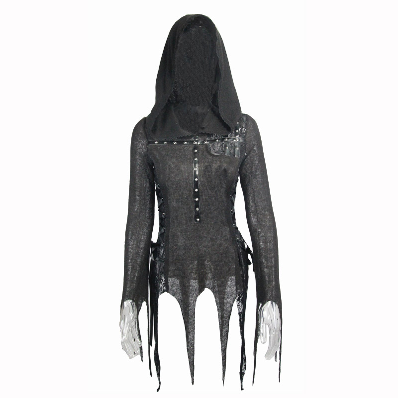 New Arrival Devil Fashion Black Tassel T Shirt Gothic Women Rivet Hooded T shirt Lace Up