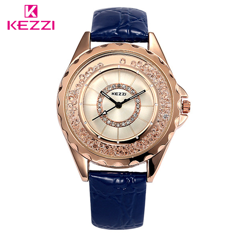 KEZZI Brand Fashion Move Quicksand Diamonds Dial Women Dress Watch Ladies Girls Student Warterproof Quartz Watches Leather Clock
