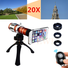 Sale Camera Lentes Kit 20x Zoom Telephoto Telescope+Tripod+Fisheye Wide Angle Macro Lens For Samsung Galaxy S4 S5 S6 S7 edge NOTE 5
