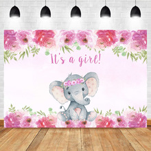 Neoback Elephant Baby Shower Photography Background Gender reveal Girl Pink Flower Cute elephant Booth Backdrop Photo Studio