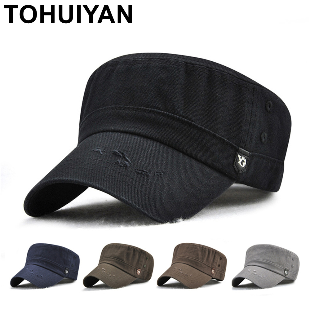 TOHUIYAN Men Women Washed Cotton Cadet Army Cap Western Style Flat Top  Chapeau Cap Classic Adjustable Military Fitted Visor Hats c2f1de62a0b