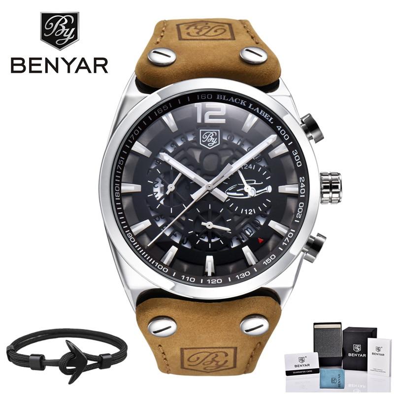 Benyar Men Watch fashion Brand Luxury Male Leather Waterproof Sport Quartz Chronograph Military Wrist Watch Men Clock relogio gzlozone pnp sanken a1216 jlh1969 single ended class a power amplifier kit 10w 10w