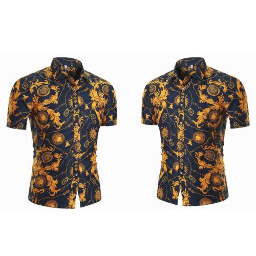 Summer Men's Flower Print Dress Shirts Short Sleeve Vacation Casual Shirt Tops