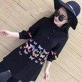 [Alphalmoda] Весна Vivid Butterfly Вышивка Длинные Блузки Короткое Платье Женщины Уникальный Пуловеры Футболки Тонкий Аккуратный Рубашка