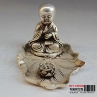 Tibet Silver Household adornment sitting lotus the lad the young monk statue Buddha statue metal handicraft
