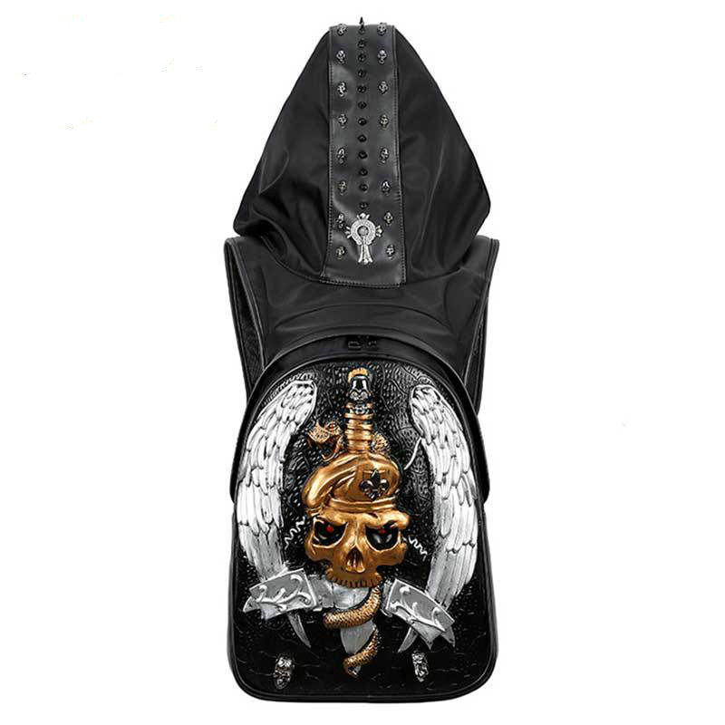Gothic Skull Wolf male Backpacks for Teenage 3D Hio-Hop Steam Punk bags Rock Men Women Travel Bag Schoolbags Backpack With Hat все цены