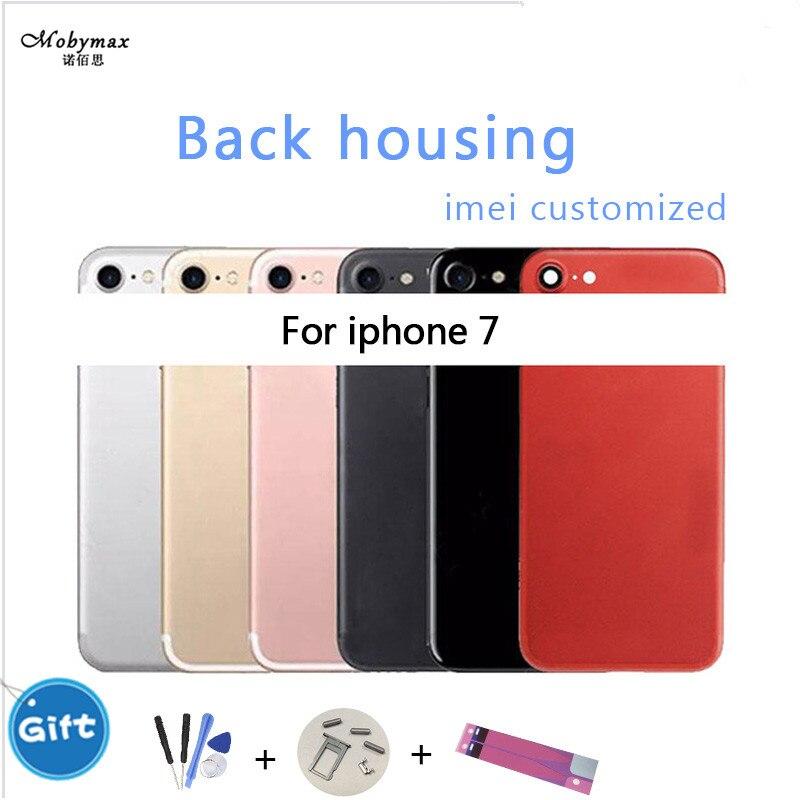 Cubierta de la batería para el iPhone 7 chasis marco medio Coque Fundas + logotipo y los botones y la bandeja Sim + sticker + herramienta + IMEI personalizada