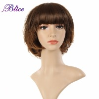 Blice Synthetic Wig Mix Color Color 2/30 Straight Skin Top & Blunt Bang Wig Kanekalon Fiber Wigs