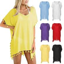 Charming Sexy Women Tassels Cover Up Beach Loose Solid Color Patchwork Swimwear Perspective Sleeveless V-Neck Tops Summer(China)
