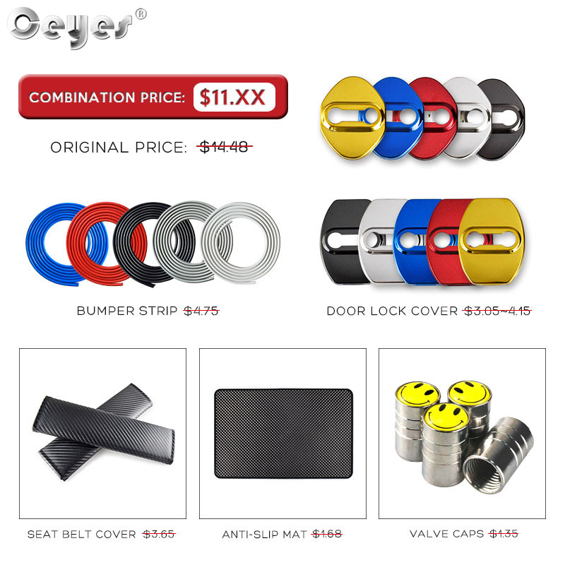 Ceyes Car Styling Accessories Door Lock Cover For Toyota Corolla CHR Rav4 Seat Belt Cover Case For Audi A4 A5 B8 Bumper Strip 5M