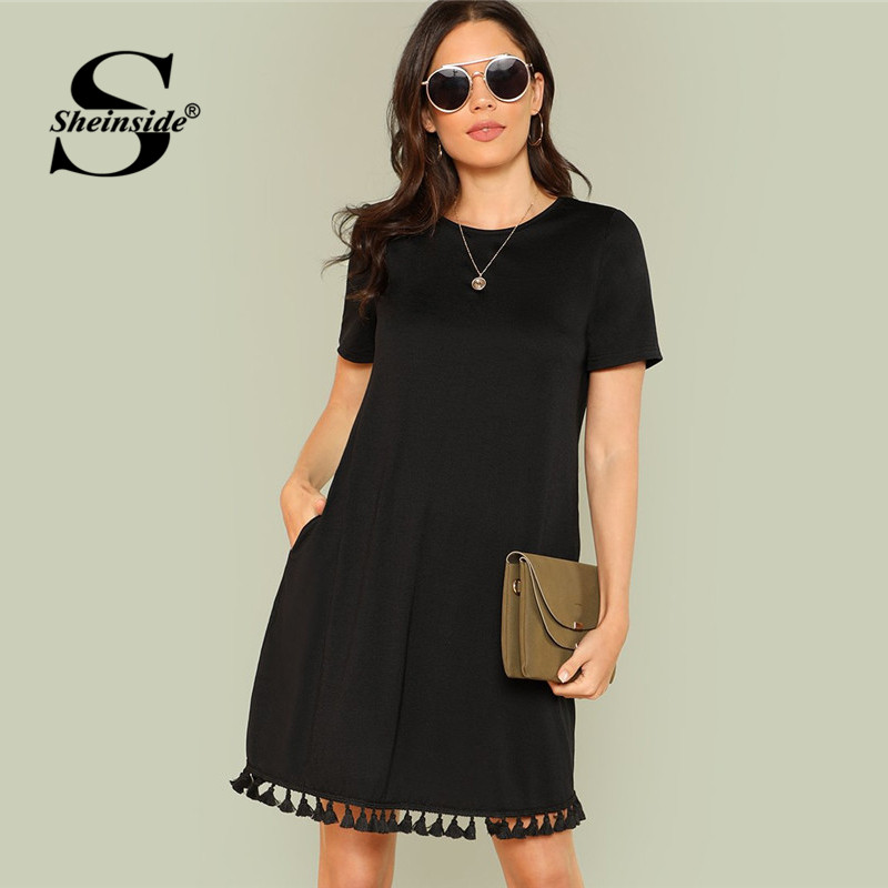 Sheinside Shift Dress Office Ladies Workwear Pockets Tassel Elegant Dress Summer Short Sleeve Plain Casual Short Dress
