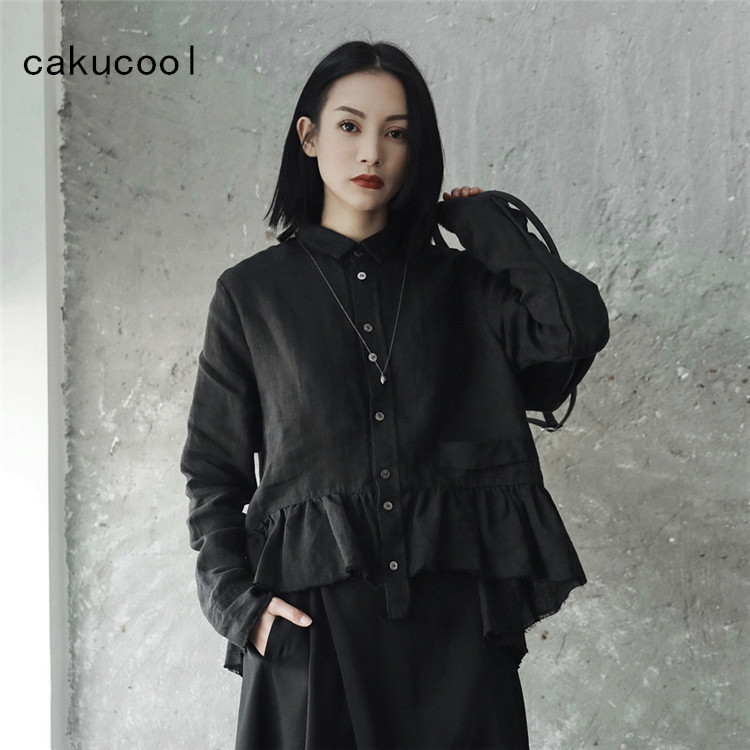 Cakucool New Cotton Linen Blouses Women Harajuku Japan Design Ripped Long  Sleeve Blusa Femme Casual Women 0fa9847454f4