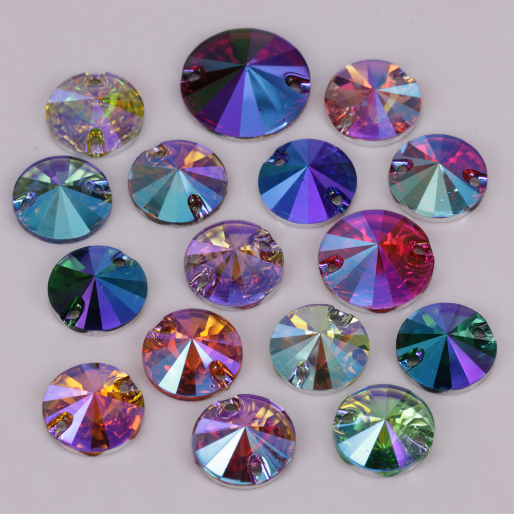 100pcs/Lot, 10mm, 12mm, 14mm, 16mm, 18mm Colors AB Flat Back Rivoli Round Resin Sew On Stones
