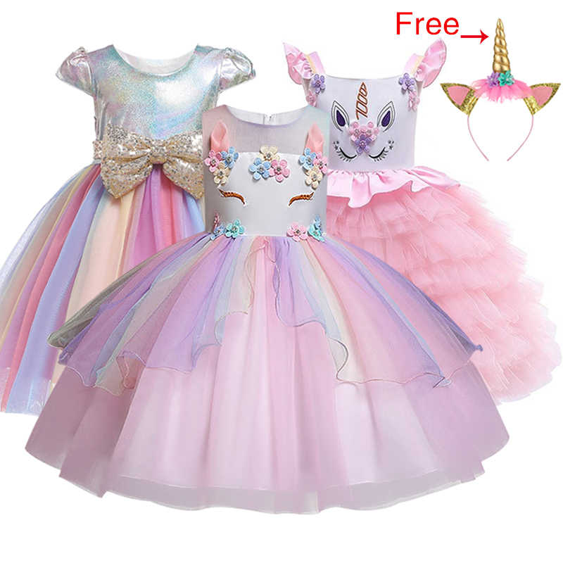 Kids Unicorn Dress for Girls Embroidery Flower Ball Gown Baby Girl Princess Dresses for Party Costumes Children Clothing