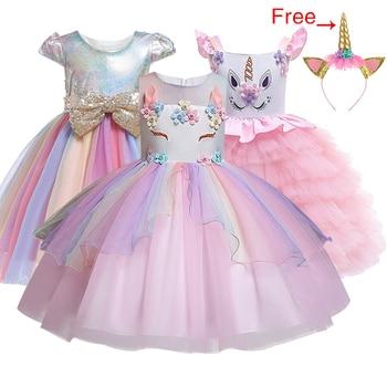 2164c1e6c Vestido de unicornio para niñas bordado vestido de baile de flores bebé niña  vestidos de princesa para disfraces de fiesta ropa de niños