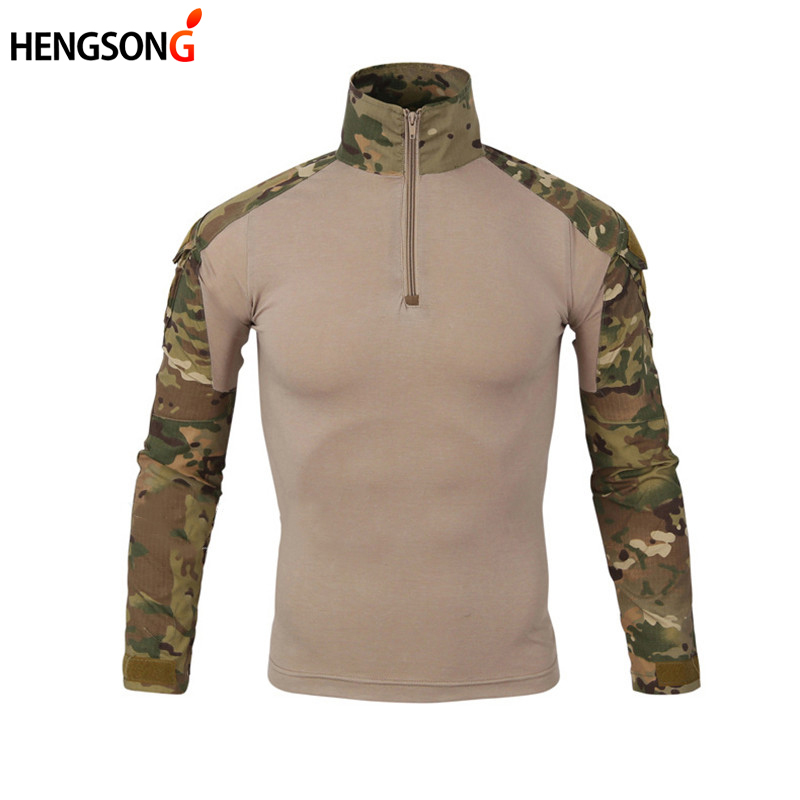 Fashion Camouflage Male T-shirts Army Combat Tactical T Shirt Military Men Long Sleeve T-Shirts With T-Shirt AQ831391