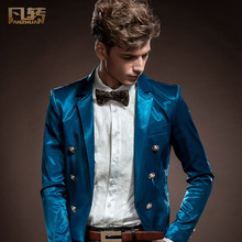 FreeShipping men's New spring fashion personality fashion Casual slim Men Suit Tuxedo blazer 140031 small short custom-made