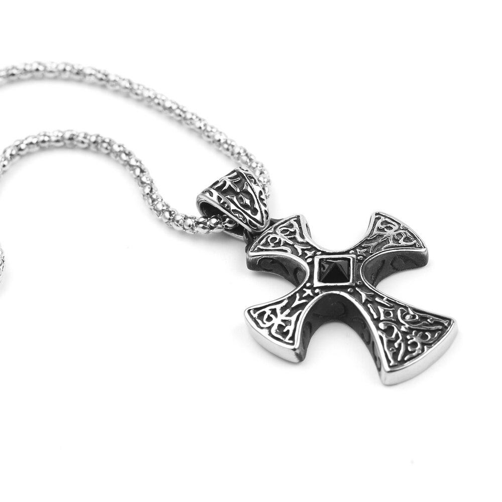 Retro Black Natural Stones Cross Charms Pendant Necklace Mens Large Maltese Cross Black Rhinestone Center Pendant
