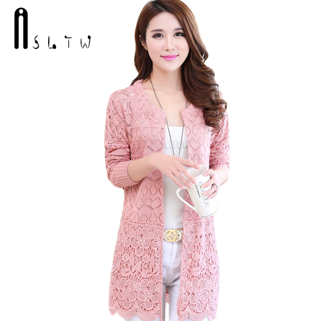 ASLTW Spring Autumn Female Long Sleeve Hollow Lace Knitwear Sweater ... d195187e2