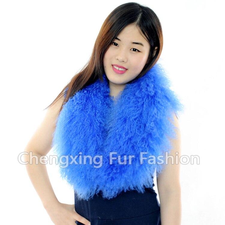 Настоящий монгольский овечий меховой воротник настоящий овечий мех шарф шарфы накидка шейный платок меховой шарф - Цвет: Небесно-голубой