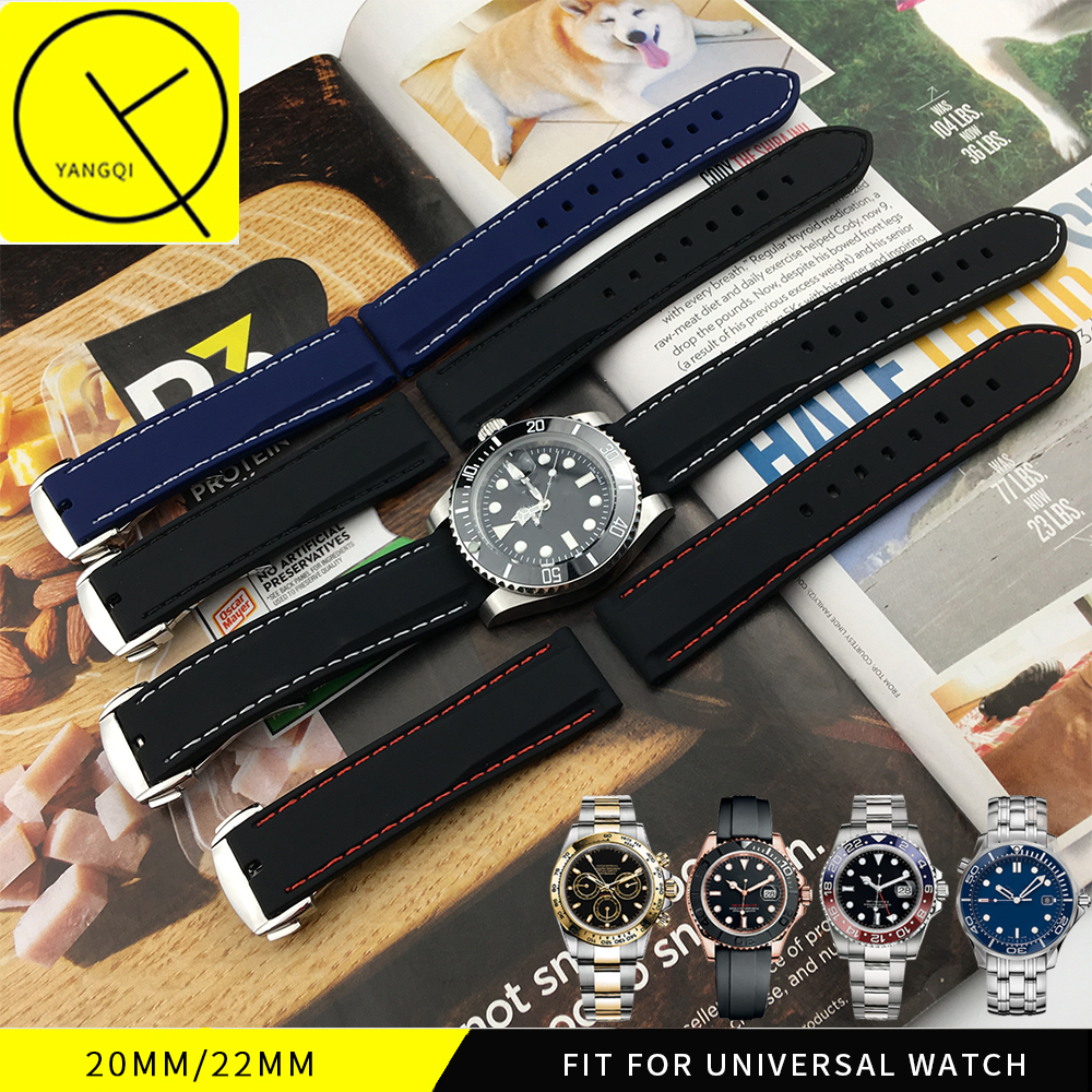 18mm 20mm 22mm Universal Silicone Strap Rubber Watchband for Tag for Heuer Buckle for Seiko Casio Watch Bracelet Band Sports Man 20mm 22mm silicone rubber watchband for tag heuer carrera watch band curved end strap steel buckle belt wrist bracelet black