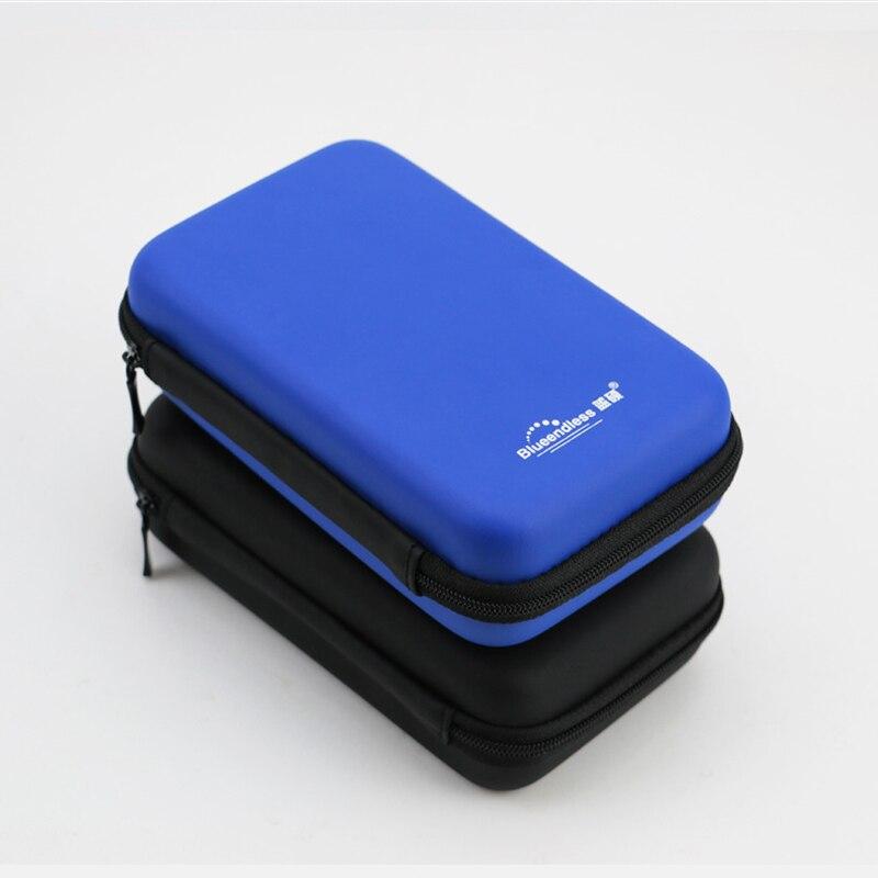 Bleu/noir multifonctionnel hdd cas sac à fermeture sandwich Antifingerprint impression pour 2.5 ''disque dur/écouteurs/powerbank etc