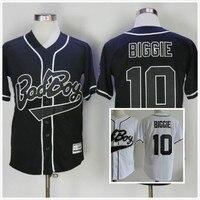 Biggie Smalls Bad Boy Baseball Jersey 10 Movie All Stitched Sewn Black White Retro