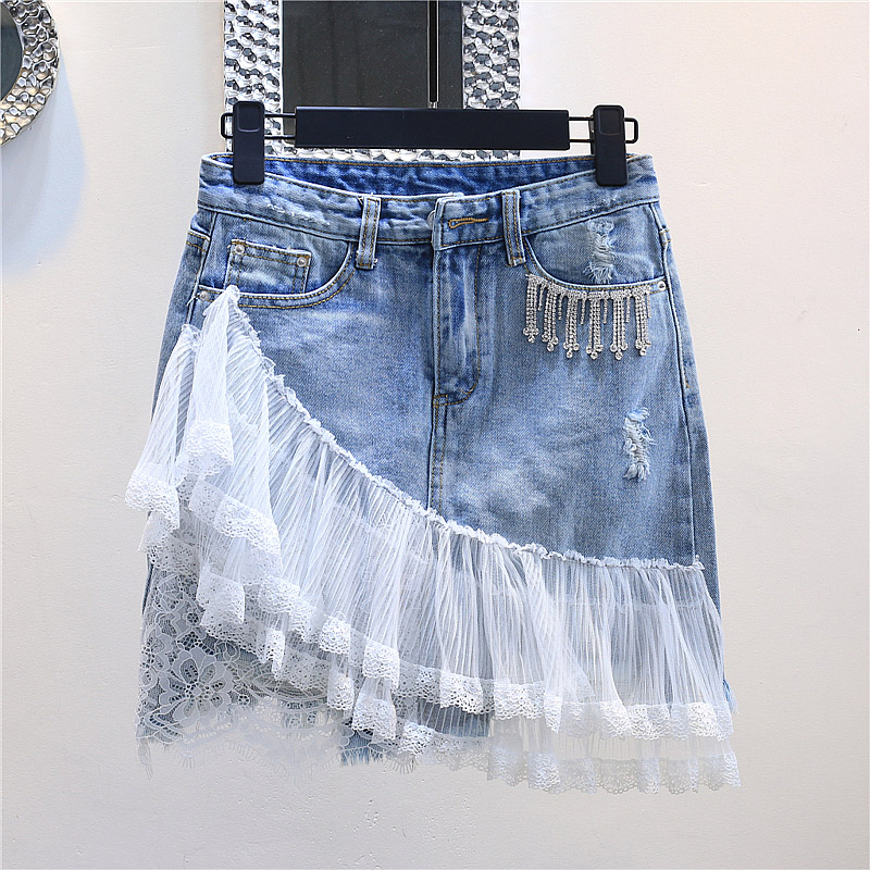 Lace mesh patchwork denim skirts women fashion Rhinestone blue plus size 2018 summer new arrivals-in Skirts from Women's Clothing    1