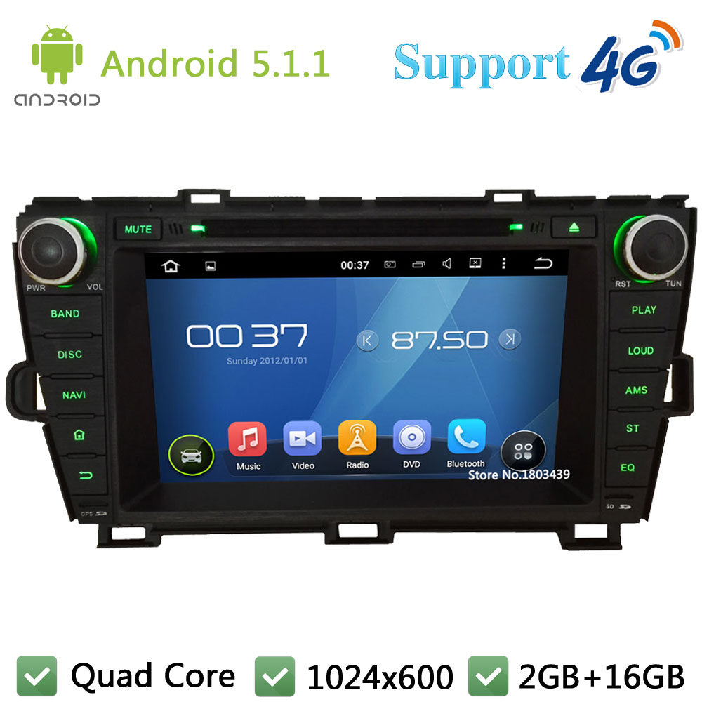Quad Core 8″ 1024*600 Android 5.1.1 Car DVD Video Player Radio Screen DAB+ FM 3G/4G WIFI GPS Map For TOYOTA Prius LHD 2009-2015