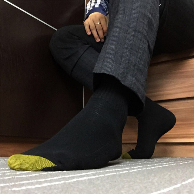 Men Cotton Formal Dress Suit Socks Golden Toe Winter Male Socks Black Sexy  Business Gay Man