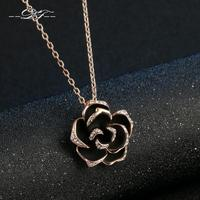 DFN021 Big Black Rose 18K Gold Plated Charms Necklaces Pendants Fashion Jewelry For Wonem Gifts Crystal