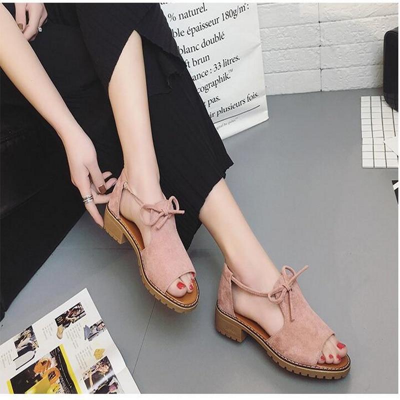 Summer flat Sandals Fish Mouth Women Sandals Flock Retro Low Heels Square Heel Woman Lace Up Shoe size 35-40 6