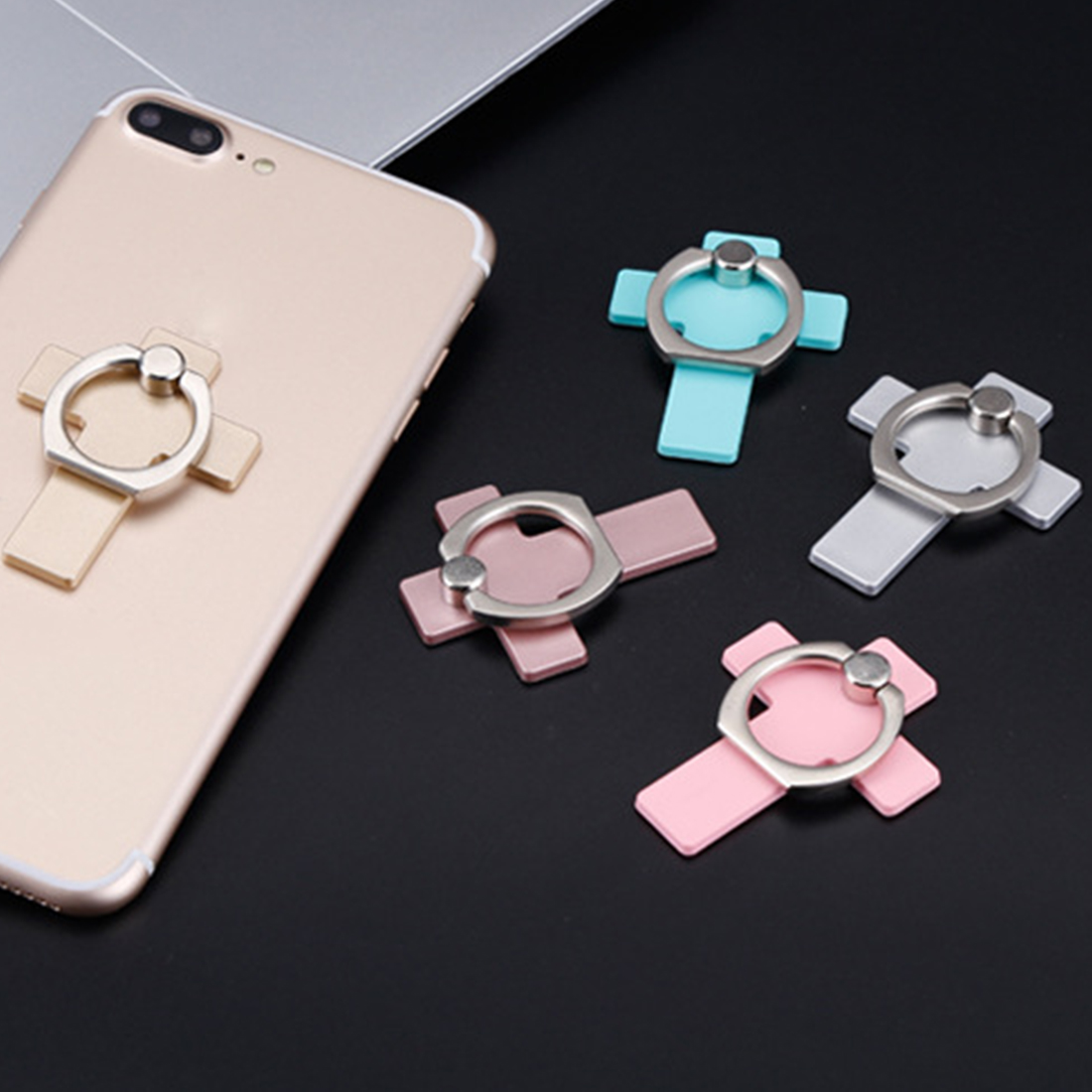 Etmakit New 360 Degree cross Metal Finger Ring Smartphone Stand Holder mobile phone holder stand For iPhone iPad Xiaomi huawei