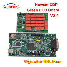 10PCS/Lot CDP tcs cdp new V3.0 Double Green board Bluetooth 2015.R3 keygen OBDII scanner for cars trucks scan diagnostic tool
